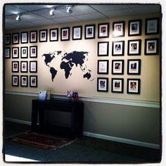 Photo presentation ideas church foyer, church lobby и travel Church Lobby, Church Foyer, Ways To Hang Polaroids, Hanging Polaroids, Travel Sticker, Postcard Display, Travel Wall Decor, Church Interior, Slat Wall