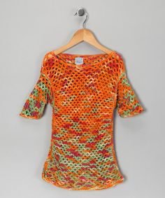 Take a look at this Orange Crocheted Top - Girls by Shu-Shi on #zulily today!