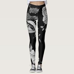 B&W Paisley Unisex High Waisted Leggings - black gifts unique cool diy customize personalize