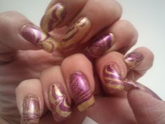 Glittery Fingers & Sparkling Toes: Purple and Gold Water Marble Gold Water, Love Nails, Art Tips, Pedi, Trip Planning, Fingers, Nail Designs, Marble, Nail Polish