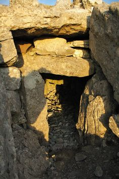 Sunlight entering another megalithic tomb at Carrowkeel