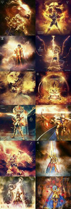 All Saint Golds of Saint Seiya by Isabey Designs Manga Anime, Art Anime, Anime Artwork, Knights Of The Zodiac, The Villain, Manga Comics, Geek Culture, Naruto Uzumaki, Dragon Ball