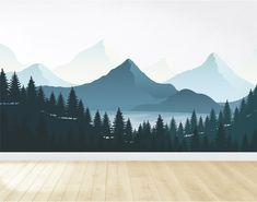 Mountain Wall Decal / Nursery Wall Decor / Mountain Mural / Woodland Mural / Forest Decal / Peel and Stick Nursery Wall Decals, Vinyl Wall Decals, Wall Murals, Wall Stickers, Wall Art, Casa Kids, Mountain Mural, Forest Mural, Wall Paint Colors