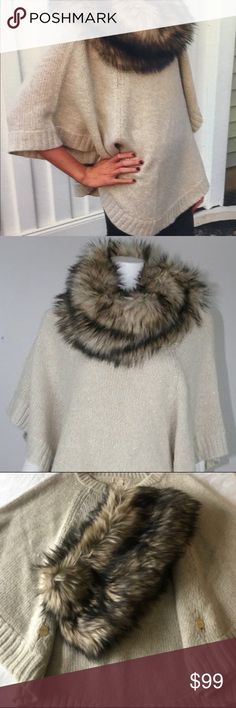 Michael Kors Poncho Excellent Condition. Acrylic/Wool Cream Colored Poncho with faux detachable fur collar. Very light and easy to wear side buttons make it very slimming. Michael Kors Other