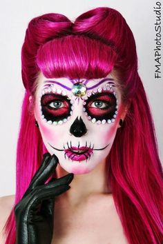 pinkybritty: Sugar Skull Pinup by Charlie Waffles Makeup Artistry! ~ holy wow