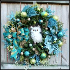 Teal Peacock Owl Christmas Wreath Winter, by IrishGirlsWreaths