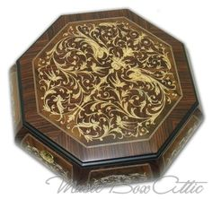 Two Layered Arabesque Octagonal Wooden Music Jewelry Box With 22 Note