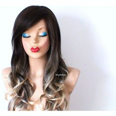 Brown Ash Blonde Ombre Wig Long Curly Hair Long Side Bangs Durable... ($140) ❤ liked on Polyvore featuring beauty products, haircare, hair styling tools, bath & beauty, grey, hair care, wigs and curly hair care
