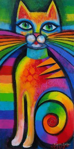 Rainbow cat .....  Karin Zeller