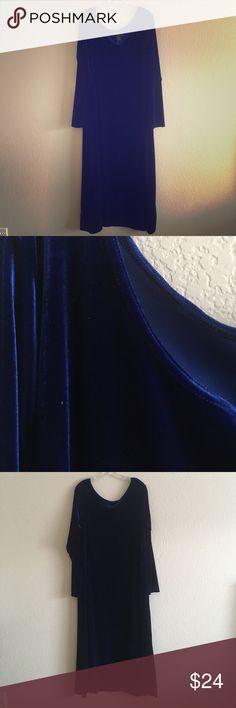 Vintage 1990s Velvet Maxi Dress Vintage 1990s dark blue stretch velvet long sleeve scoop neck maxi dress. Brand is Metro Style. Vintage Dresses Maxi