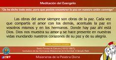 """MISIONEROS DE LA PALABRA DIVINA: MEDITACIÓN DEL EVANGELIO - """"Os he dicho todo esto,..."""