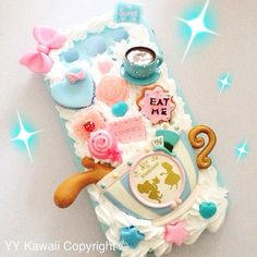 Alice in Wonderland inspired Kawaii Decoden Phone case for IPhone 4/4s 5 Samsung Galaxy S2 S3 S4 Mini Ace and other on Etsy, $15.00
