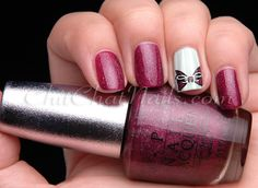ChitChatNails  OPI DS Extravagance with stamped bow nail art manicure #nails