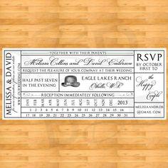 Vintage Train Ticket Wedding Invitation by DigitalBunnysDesigns, $25.00. @Jess Liu Stemmler