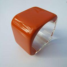 Vintage 1960's Orange & Clear Lucite Square Bangle Retro Bangle Mod by VintageBlackCatz on Etsy