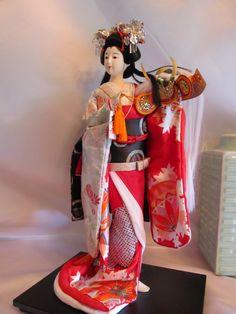 Antique japanese Doll Kabuki Gofun18 inches Lady samurai by Ritzco Esty