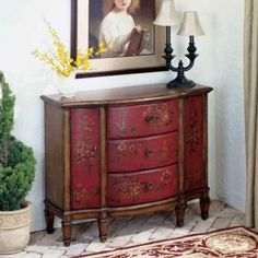 french country decorating | Tuscan French Country Style Decor Furniture RED Sofa Entry Table