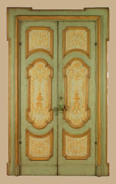 Reproduction of a napolitan early century door in old pine made using old beams. The paintings represent typical decorative style of door Wood Door Paint, Painted Doors, Wood Doors, Italian Doors, E Piano, Architecture Details, 18th Century, Vintage Art, Painted Furniture