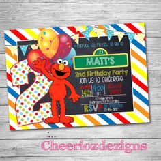 Elmo Invitation, Elmo Birthday Invitation, Elmo Chalkboard Invitation, Sesame Street Elmo Birthday Invitation Photo, Elmo's world DIGITAL by CheeriozDezigns on Etsy https://www.etsy.com/listing/257786094/elmo-invitation-elmo-birthday-invitation