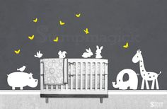 Jungle Animals Nursery Wall Decal Vinyl Wall Art by stampmagick