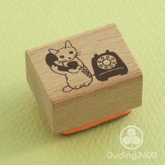 Japanese Cat Wooden Rubber Stamp - Cat on Phone - Pottering Cat