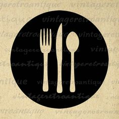 Digital Printable Fork Knife and Spoon Download Silverware Graphic Food Restaurant Kitchen Image Vintage Clip Art 18x18 HQ 300dpi No.4513 @ vintageretroantique.etsy.com #DigitalArt #Printable #Art #VintageRetroAntique #Digital #Clipart #Download