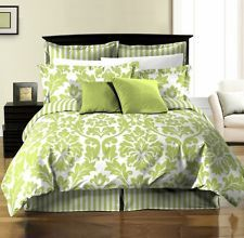 69 99 8pcs reversible white green leaf stripe duvet cover set king size bedding duvet