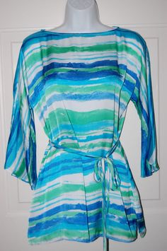 Ralph Lauren Shirt Striped Tunic Belted Top Green/Blue M #RalphLauren #Tunic #Casual