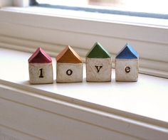 LOVEFour handmade polymer clay houses  Word Houses  by SkyeArt, $32.00