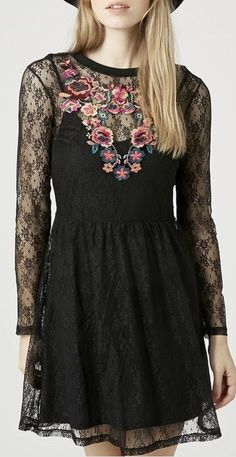 embroidered flippy dress