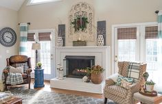 Inspiration for my tv console, which is my 'mantel' in my Wee Abode. My Winter Fireplace Mantel And Hearth