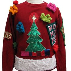 Pin for Later: 35 Cheap and Easy Ugly Christmas Sweater DIYs Busy-Body Sweater Sometimes you just need to keep sewing Christmas-themed items on an article of clothing until there is no room left.