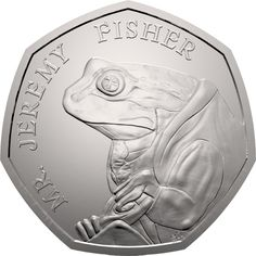 This is the first UK coin to feature Jeremy Fisher in his famous waterproof mackintosh coat. It was issued as part of the second series of Beatrix Potter Beatrix Potter, Rare British Coins, Rare Coins, Rare 50p Coins Value, Mint Coins, Gold Coins, English Coins, Gold And Silver Prices, Fifty Pence Coins