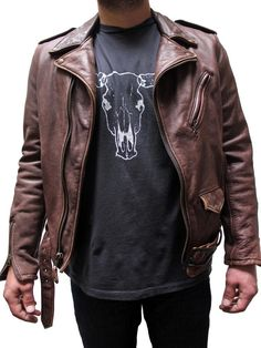 Schott Vintaged Fitted Men's Cowhide Leather Motorcycle Jacket Brown 626VNBROWN