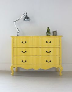 Vintage Yellow French Chest Of Drawers