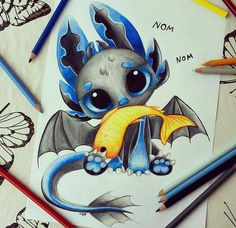 By: kawaii drawings, disney drawings, anime animals, dragon Cute Disney Drawings, Cute Animal Drawings, Kawaii Drawings, Cool Drawings, Pencil Drawings, Cute Disney Wallpaper, Cartoon Wallpaper, Toothless And Stitch, Toothless Drawing