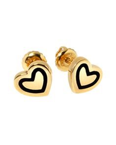 heart scribble studs - 18ct yellow gold vermeil with black ceramic enamel
