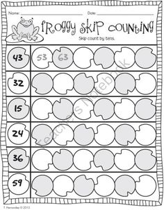 Froggy Skip Counting by Tens from First Grade is Sweet! on TeachersNotebook.com (2 pages)