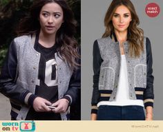Emily's grey and blue leather-sleeved varsity jacket on Pretty Little Liars.  Outfit Details: http://wornontv.net/33628/ #PLL