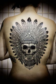 Native American headdress skull tattoo