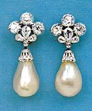 The Marie Mancini Pearls valued at over a half a million dollars via Christie's.  These famous pearls were found in the 16th century and passed to the Medici family and then to Louis XIV who gave them to his mistress, Marie Mancini.  The current setting with diamonds and platinum, is more recent.