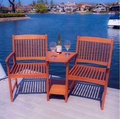 Bench Outdoor Garden Patio Furniture Table Eucalyptus Wood Adjoining Chairs