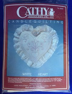 Vintage Candlewick Hearts and Flower Pillow Kit By Cathy Needlecraft Quilting Sealed New Old Stock 12 Inch By 12 Inch by BlueHeavenVintage on Etsy
