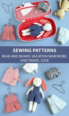 PDF Bear and Bunny Sewing Pattern Bear Doll and Bunny Doll Pattern Fabric Animal Doll Pattern Cloth Doll Pattern Stuffed Animal Plushie Fabric Toys, Fabric Crafts, Sewing Crafts, Sewing Projects, Doll Clothes Patterns, Doll Patterns, Sewing Patterns, Animal Patterns, Clothes Basket