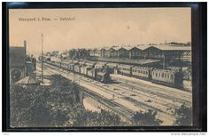 """Bahnhoff or Train Station in Stargard.  In 1871, Friedrich Wilhelm Krämer (1820-1877) is listed as a """"weichensteller"""" (railroad switchman) and lived at Bahnhofsstrasse 2, as documented in the 1871 Stargarder Adressbuch."""