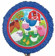 "Barnyard Party Pullstring Pinata by Ya Otta Pinata. $13.29. Barnyard Party Pullstring Pinata.. Hit the pinata, or simply pull the strings to release the goodies!. One Barnyard Party Pinata is 16"" Round X 3"" Deep when filled.. Pinata ships flat, and expands when you add candy (not included).. Barnyard Party Pinata. One Barnyard Party Pinata is 16"" Round Diameter X 3"" Deep when filled. Pinata ships flat, and expands when you add candy (not included). Hit the pinata, or simply p..."