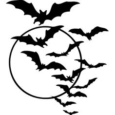 bats over moon -... ❤ liked on Polyvore featuring halloween, backgrounds, fillers, art, decor, effects, text, doodle, circles and quotes