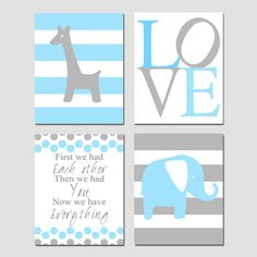 Baby Elephant Giraffe Love Nursery Art Quad - Set of Four 8x10 Prints - First We Had Each Other - Choose Your Colors - Baby Blue and Gray
