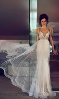 Appreciated designer in the world's bridal industry Zahavit Tshuba. Fall in love with this v-neck gorgeous and totally sexy bridal gown ❤. Visit WeddingForward.com for more wedding dresses & wedding dress shopping advice. #weddingdresses #ZahavitTshuba #bridalgown