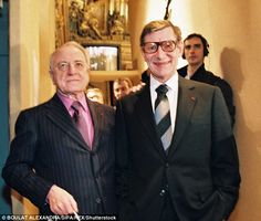 Pierre Berge, a French businessman and the former partner of late fashion designer Yves Saint-Laurent, has died at 86. Yves Saint Laurent (right) and Pierre Berge (left) are pictured together celebrating 40 years of haute couture in Paris, 1998